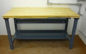 Butcher block work bench with steel frame