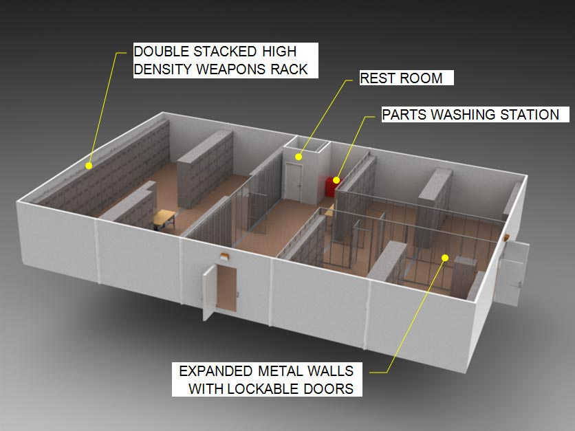 Multiplex, modular arms vault armory diagram
