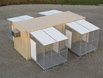 k9 kennel with four exercise areas