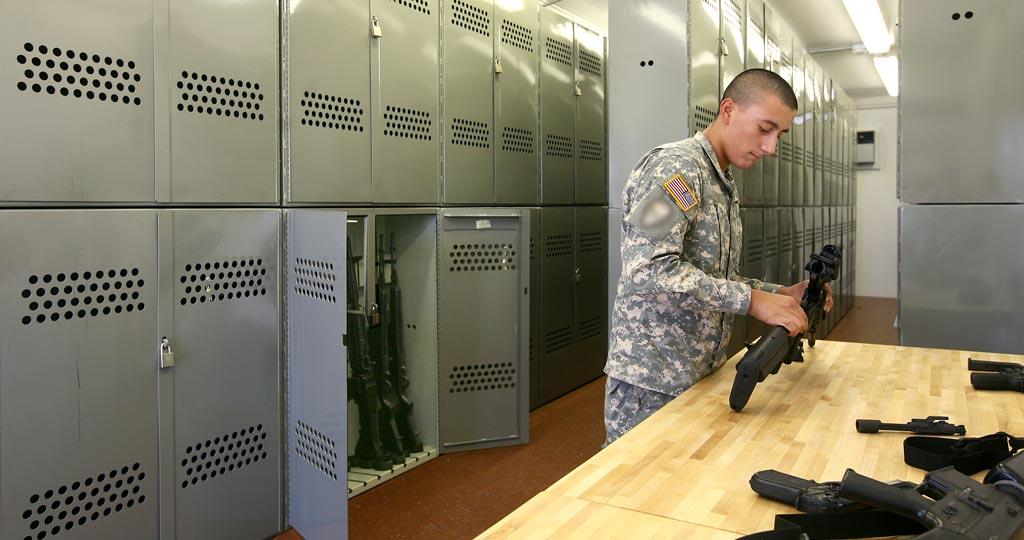Modular armory interior with weapons racks