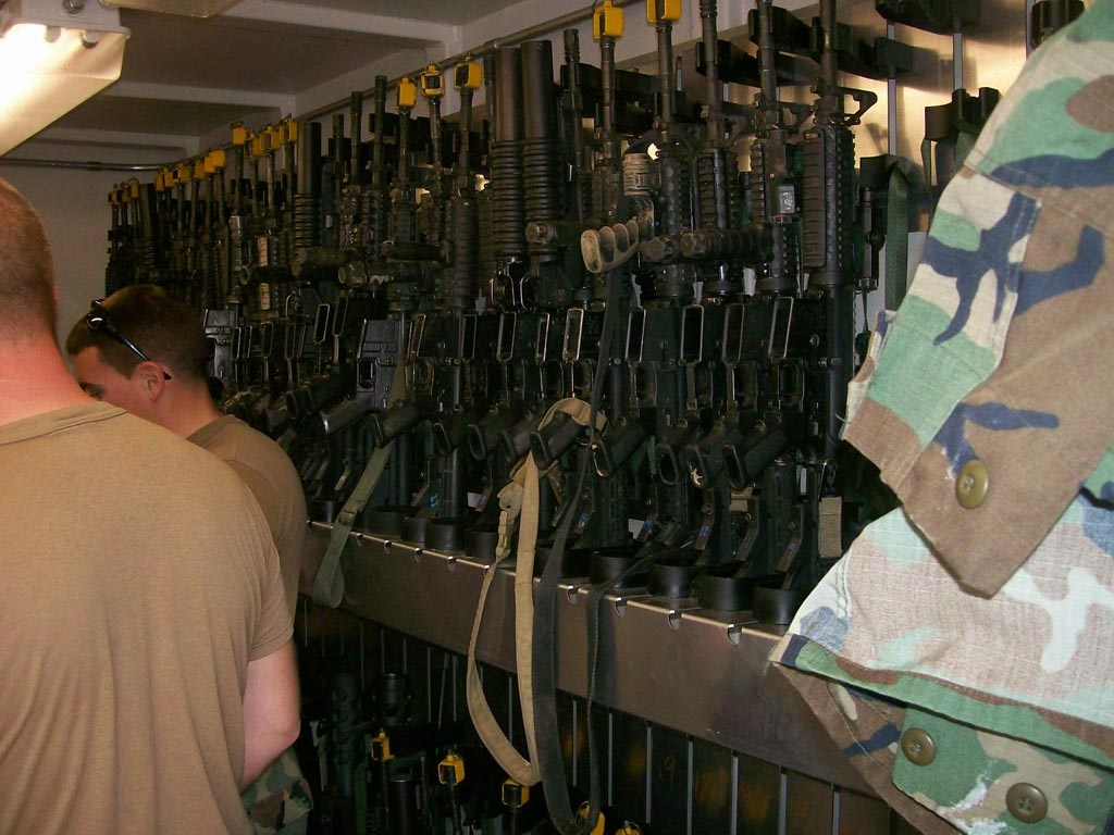 Rifles on weapons racks