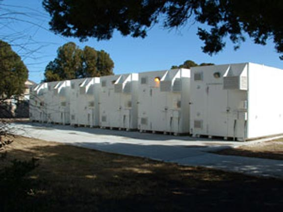Multiple 20 ft. x 10 ft. x 10 ft. armories in place at a military base