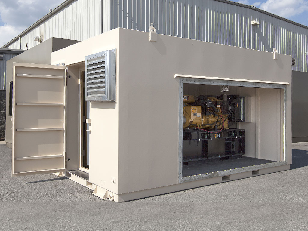 Shielded generator shelter with doors open