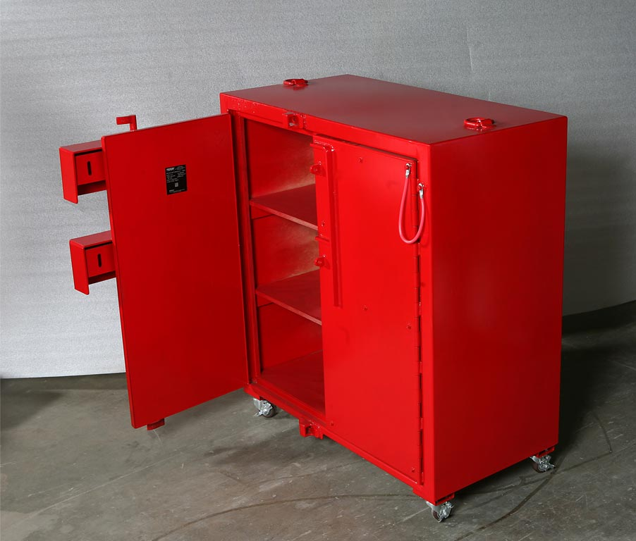 Two door, cabinet style indoor magazine for Type 2 explosives storage.
